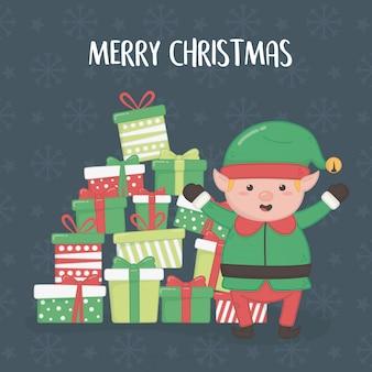 Cartolina di buon natale con aiutante elfo