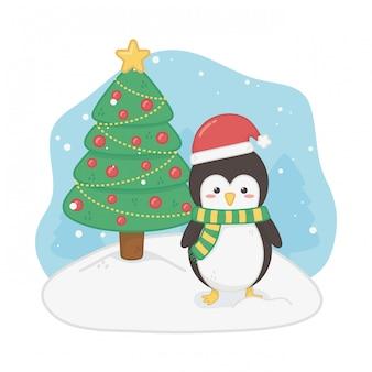 Cartolina di buon natale con pinguino
