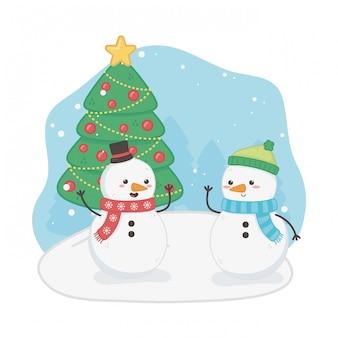 Cartolina di buon natale con pupazzi di neve