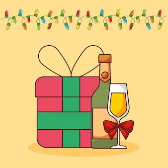 Cartolina di buon natale con regali regali