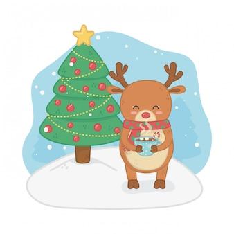 Cartolina di buon natale con renne e pini