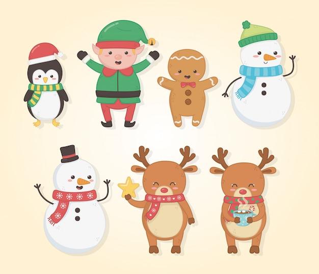 Cartolina di buon natale con un gruppo di personaggi