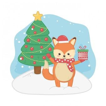 Cartolina di buon natale con volpe
