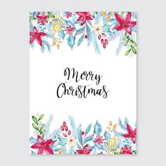 Cartolina di buon natale dell'acquerello con decorazioni floreali