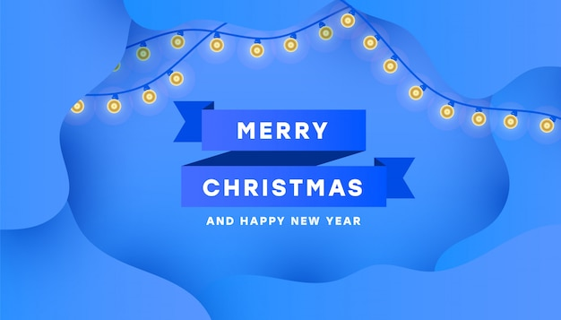 Cartolina di buon natale e felice anno nuovo con nastro blu minimo e ghirlanda