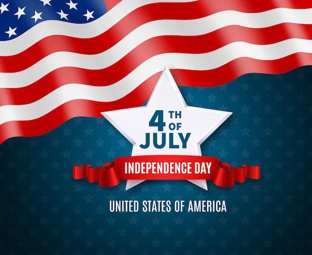Cartolina di festa dell'indipendenza a colori di grande stella bianca della bandiera nazionale dell'america e testo il quarto dell'illustrazione di luglio
