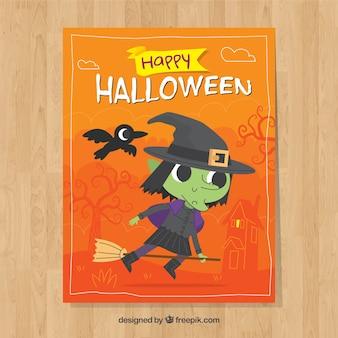 Cartolina di halloween con la strega bella