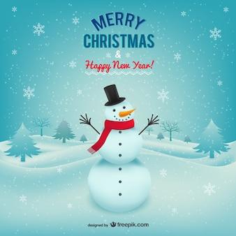 Cartolina di natale allegra con il pupazzo di neve