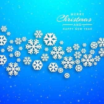 Cartolina di natale allegra con il vettore del fondo del fiocco di neve
