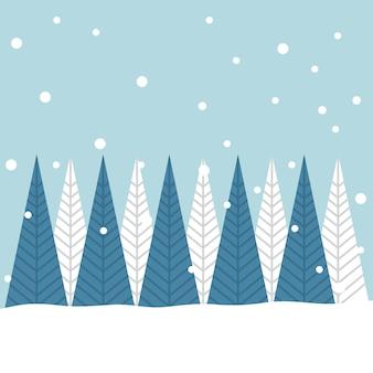 Cartolina di natale allegra degli alberi di natale nella neve di inverno
