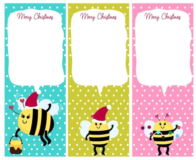 Cartolina di natale animale dell'ape