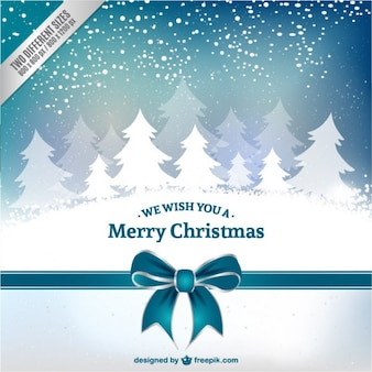 Cartolina di Natale con alberi bianchi