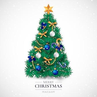 Cartolina di natale con albero decorativo realistico