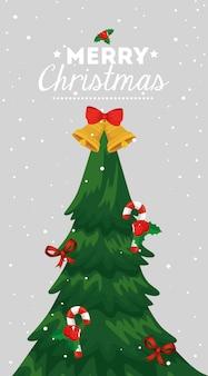 Cartolina di natale con albero di pino