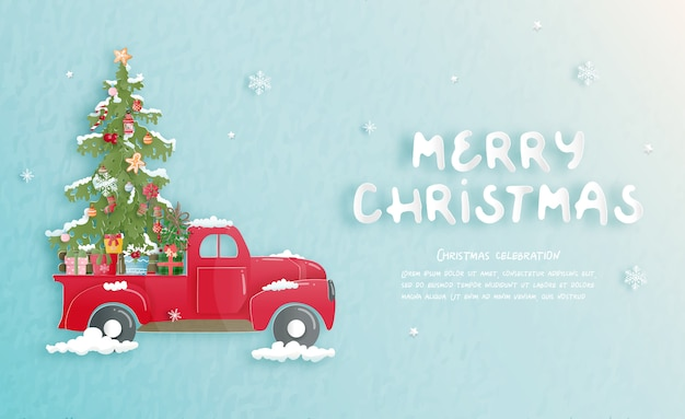 Cartolina di natale con auto carina e albero di natale in carta tagliata stile.