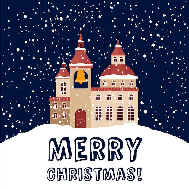 Cartolina di natale con chiesa cristiana e nevicate