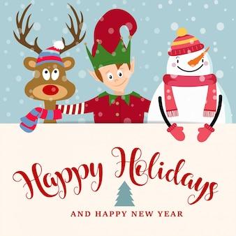 Cartolina di natale con elfo, pupazzo di neve e renne