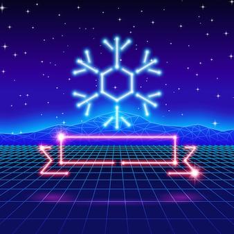 Cartolina di natale con fiocchi di neve al neon anni '80 e nastro
