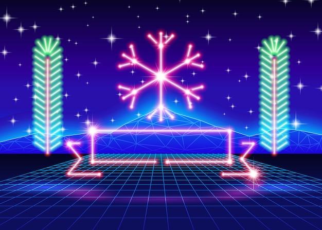Cartolina di natale con fiocco di neve al neon anni '80