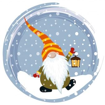 Cartolina di natale con gnome