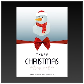 Cartolina di natale con la tipografia e pupazzo di neve su sfondo grigio scuro