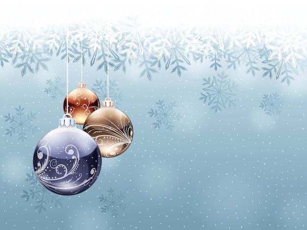 Cartolina di natale con neve e bolle.