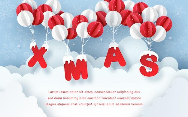 Cartolina di natale con palloncino sul cielo