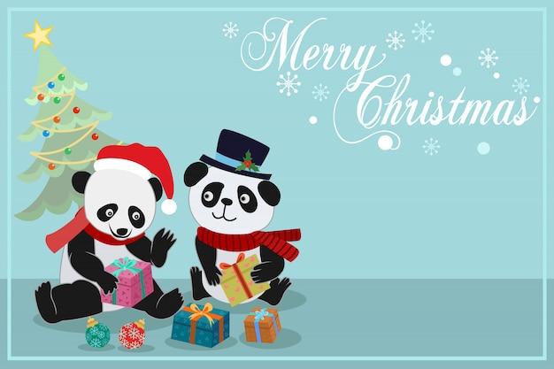Cartolina di natale con panda carino e regalo.