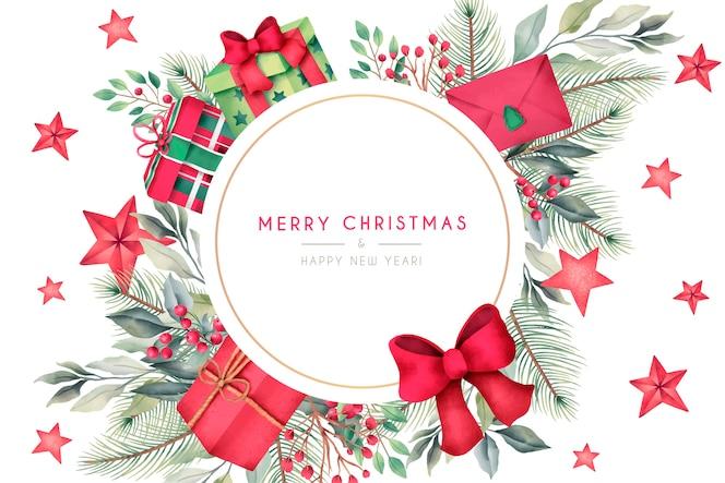 Cartolina di natale con regali e decorazioni ad acquerello