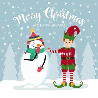 Cartolina di natale con simpatico elfo e pupazzo di neve.