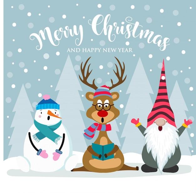Cartolina di natale con simpatico gnomo, renne e pupazzo di neve