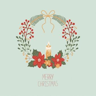 Cartolina di natale con una ghirlanda di vischio, agrifoglio, candela, fiori, bacche