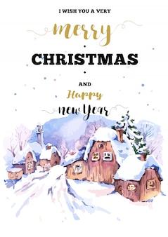 Cartolina di natale cornice verticale con paesaggio invernale salutare
