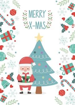 Cartolina di natale decorazione albero e babbo natale