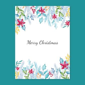 Cartolina di natale dell'acquerello con decorazioni floreali