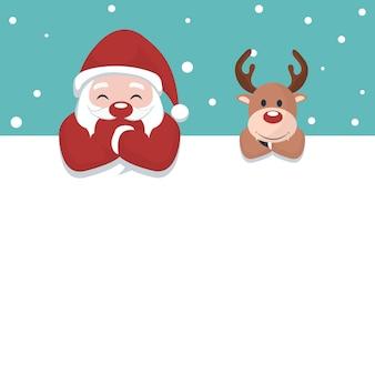 Cartolina di natale di babbo natale e renne