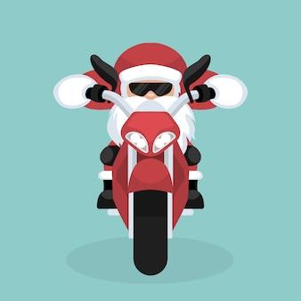 Cartolina di natale di babbo natale in sella a una moto