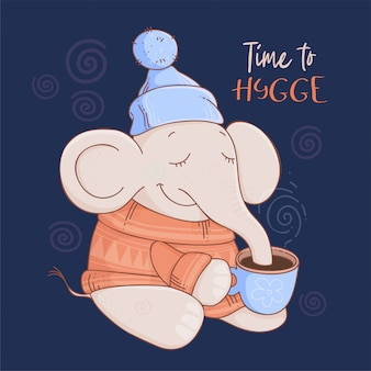 Cartolina di natale elefante simpatico cartone animato in un maglione e cappello con cacao