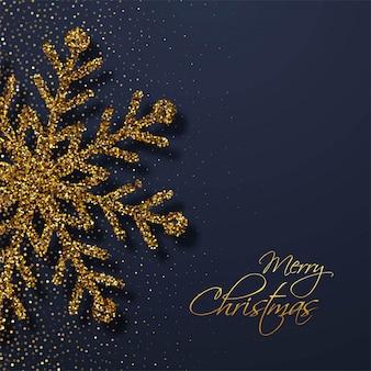 Cartolina di natale elegante fiocchi di neve luccica d'oro