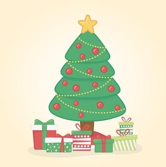 Cartolina di natale felice con albero di pino