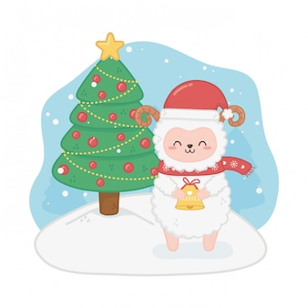 Cartolina di natale felice con pecore e pini