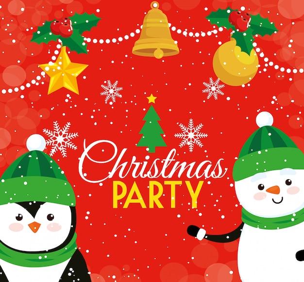 Cartolina di natale festa con pinguino e pupazzo di neve