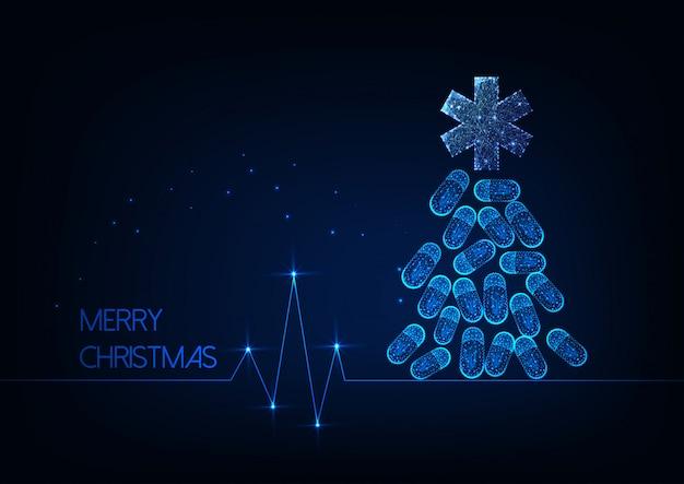 Cartolina di natale futuristica per medicina con albero di natale incandescente fatto di pillole e stella della vita