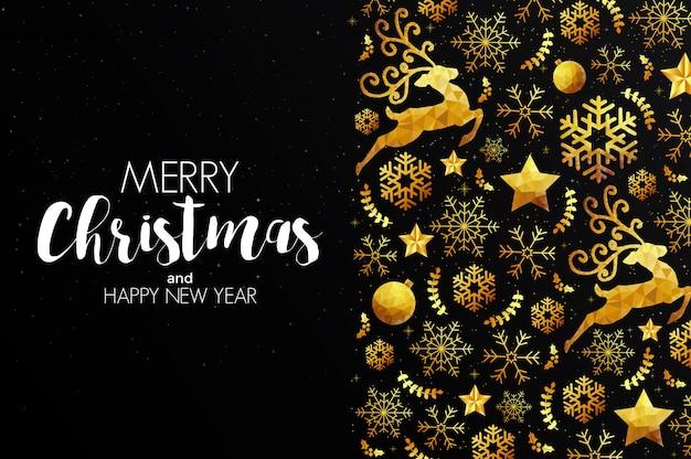 Cartolina di natale natalizia fatta da triangoli, renne e ornamenti