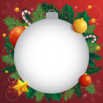 Cartolina di natale vacanza con abete e festose decorazioni palle, stelle, fiocchi di neve su sfondo rosso.