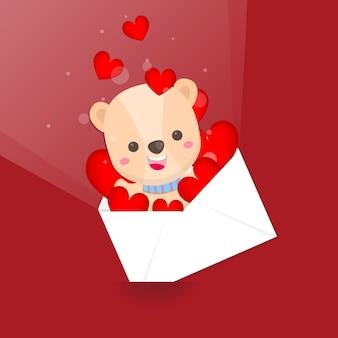 Cartolina di san valentino. buon san valentino, simpatico orso e busta a cuore