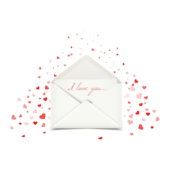 Cartolina di san valentino con busta bianca
