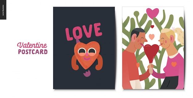 Cartolina di san valentino con coppia in possesso di un cuore rosso