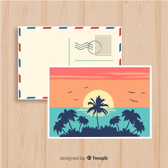 Cartolina di tramonto estate disegnata a mano