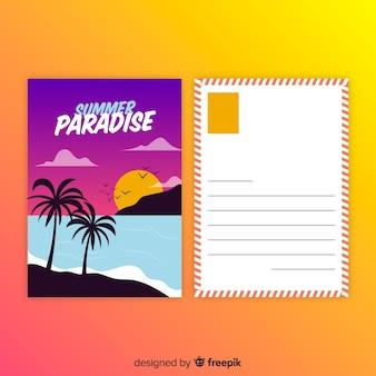 Cartolina di vacanza estiva piatta